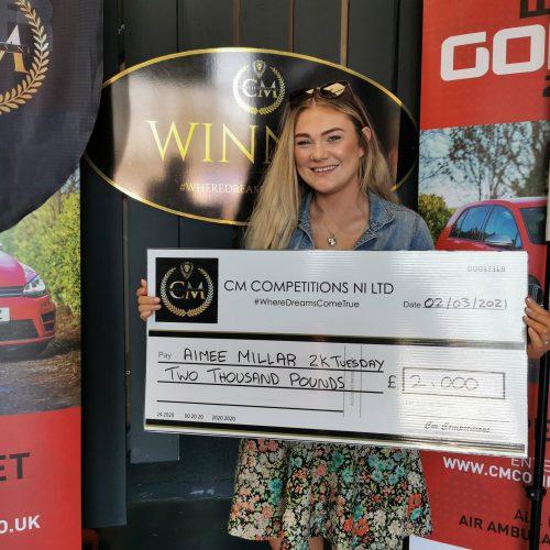 AIMEE MILLAR-Ballymoney-119th Winner-£2000 Cash Tuesday-Cm Competitions NI