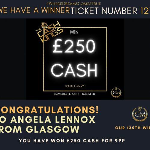 Angela Lennox-Glasgow-135 winner-£250 cash for 99p-Cm Competitions NI