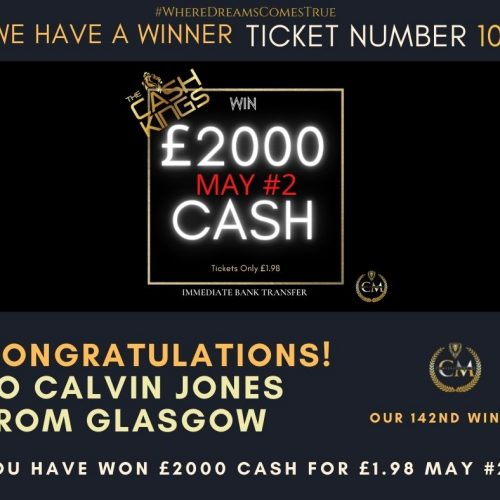 CALVIN JONES-Glasgow-142nd winner-£2000 cash for £1.98 May #2-Cm Competitions NI
