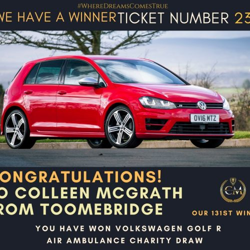 COLLEEN MCGRATH-Toomebridge-131st Winner-Volkswagen Golf R Air Ambulance Charity Draw-Cm Competitions NI