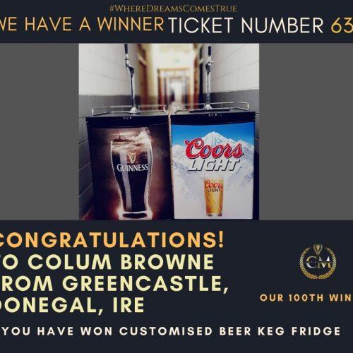 COLUM BROWNE-Greencastle,Donegal,IRE-100th Winner-Customised Beer Keg Fridge-Cm Competitions NI