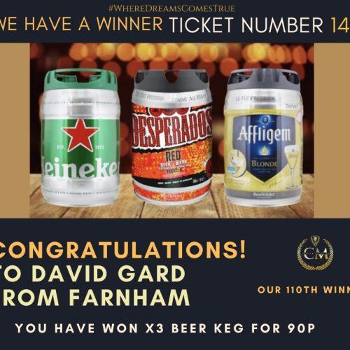 DAVID GARD-Farnham-110th Winner-x3 Beer Keg For 90p-Cm Competitions NI