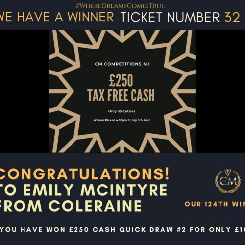 EMILY MCINTYRE-Coleraine-124th Winner-£250 Cash Quick Draw #2 for £10- Cm Competitions NI