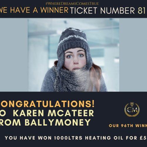 KAREN MCATEER- Ballymoney-6th Winner-1000ltrs heating oil for £5-Cm Competitions NI