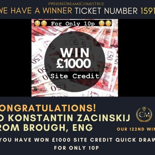 KONSTANTIN ZACINSKIJ-Brough, Eng-122nd Winner-£1000 Site credit Quick Draw For Only 99p-Cm Competitions NIjpg