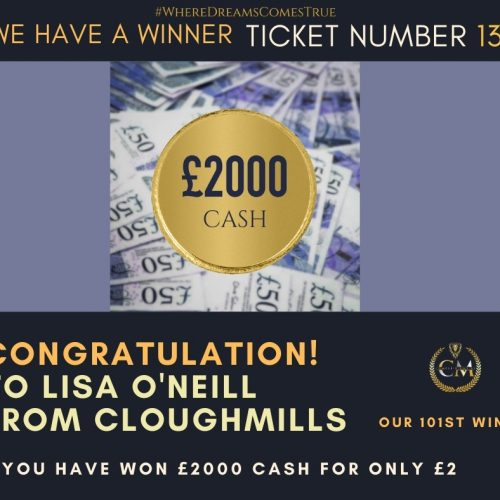 LISA O'NEILL-Cloughmills-101st Winner-£2000 cash for £2-Cm Competitions NI