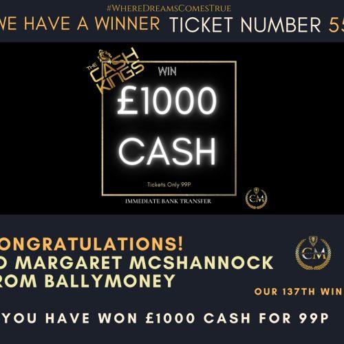 Margaret McShannock-Ballymoney-137 winner-£1000 Cash for 99p-Cm Competitions NI