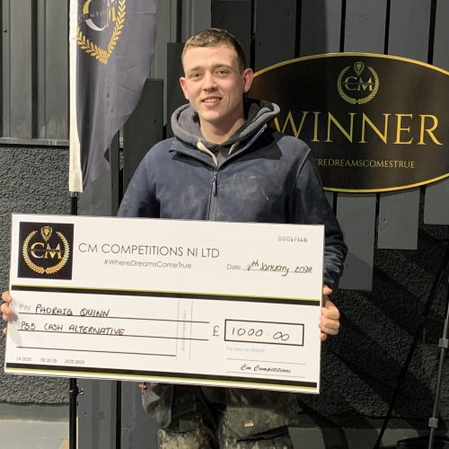 PADRAIG QUINN-Dungannon-67th Winner-PS5 + 55 tv or Cash Alternative-Cm Competitions NI