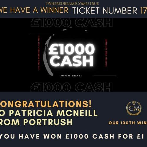 PATRICIA MCNEILL-Portrush-130th winner-£1000 cash for £1-cm competitions ni