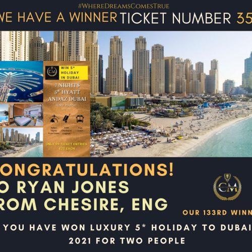RYAN JONES - Chesire Eng-133 winner-5* holiday to Dubai-Cm Competitions NI