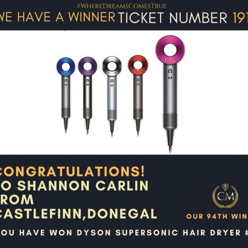 SHANNON CARLIN-Castlefinn,Donegal-94th Winner-Dyson Supersonic Hair Dryer-Cm Competitions NI